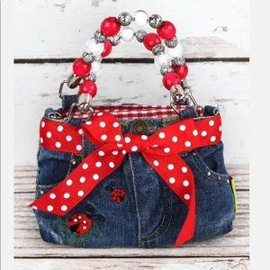 Mini Denim Jeans Bag w/Beaded Handles